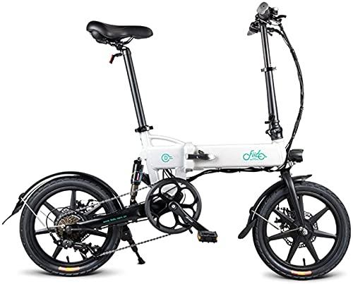 Bicicleta Eléctrica para Exteriores,Bicicleta Eléctrica Plegable 16 Pulgadas,Bicicleta Eléctrica Plegable Recargable con Palanca Cambios,Velocidad Máxima De 25 Km/H,Bicicleta Unisex A
