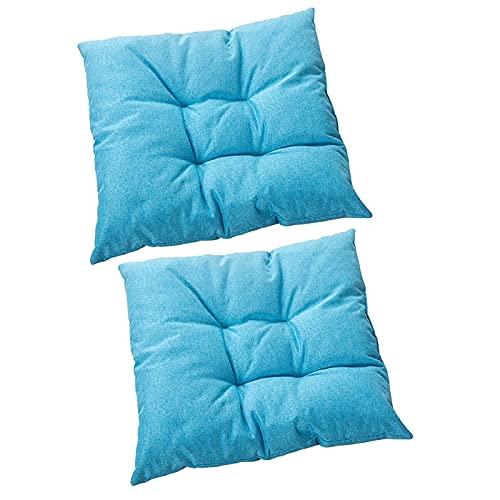 LVLUOKJ Almohadillas para sillas,Cojín Decorativo de Asiento para Silla de jardín,Varios diseños,poliéster,2 Piezas,Azul