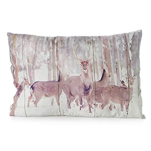 mitienda decoratief kussen met liefde gemaakt herten 40 x 60 cm, sofakussen sierkussen, woondecoratie decoratie sofa kussen, cadeau-idee kerstdecoratie