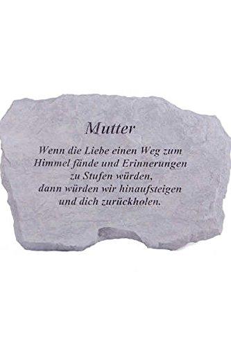 Vidroflor Gedenkstein Mutter Steinguss 27 x 41 cm Grabschmuck frostfest, Friedhof, Gartendeko