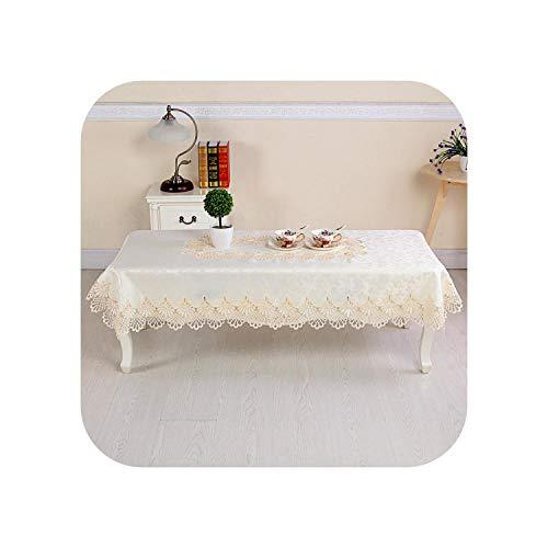 Fun-boutique Lace Tablecloth for Sofa, Napkin, Cushion, Table Cloth, Wedding, Table Cloth, Table Cloth, TV Cabinet, 90 x 150 cm, Beige