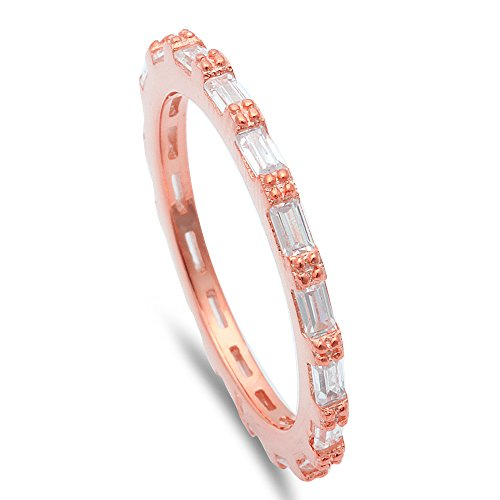 Oxford Diamond Co Rose Gold Baguette Cubic Zirconia Eternity Style Band .925 Sterling Silver Ring Sizes 7