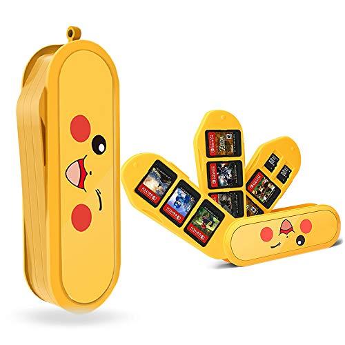 Nintendo Switch Game Card Case Creative Game Card Holder para Nintendo Switch Games con 8 ranuras + 2 ranuras TF (Pikachu)