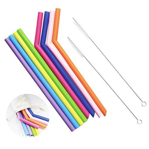 Pajitas de silicona, 8 pajitas para batidos y jugos con 2 cepillos de limpieza, pajitas reutilizables sin BPA, pajita extra larga para bebidas frías y calientes.