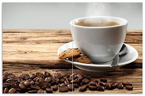 Wallario Herdabdeckplatte/Spritzschutz aus Glas, 2-teilig, 80x52cm, für Ceran- und Induktionsherde, Motiv Heiße Tasse Kaffee mit Kaffeebohnen