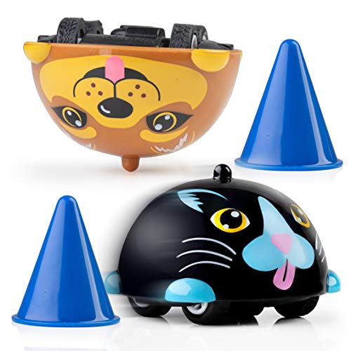 Power Your Fun Turbo Tops Mini Gyro Spinning Tops for Kids – Mini Cars, Battling Tops Game, Small Party Favors for Kids 2pk (Pets)