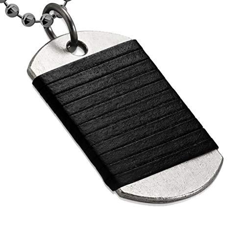 Tata Gisèle - Collar para hombre – Malla bola lavabo con placa militar de acero inoxidable plateado