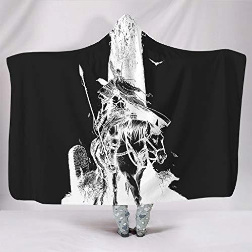 Wandlovers Vikingo Odin Raven Wolf Yggdrasil con impresin de crneo suave con capucha, forro polar mstico, con capucha, blanco, 150 x 200 cm