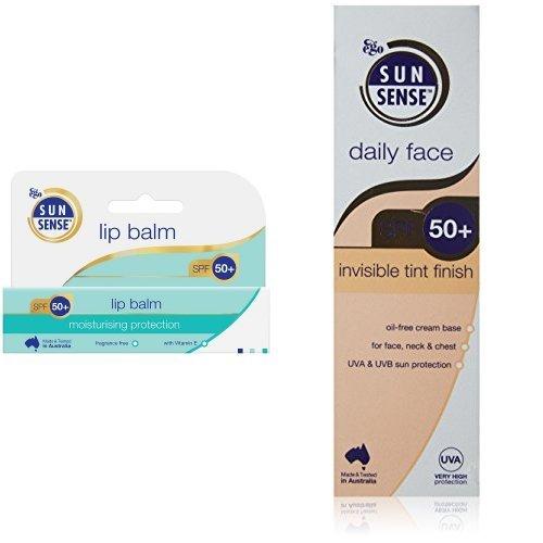 SunSense Daily Face SPF50+ Invisible Tint Finish Sunscreen - 75 g & Sunsense Sun Protection Lip Balm SPF50 15g Duo Set