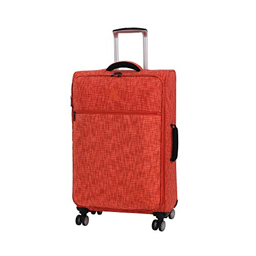it luggage 26.8' Stitched Squares 8 Wheel Lightweight Expandable Spinner, Orange