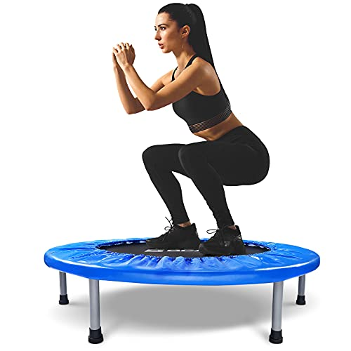 """BCAN 38"""" Foldable Mini Trampoline, Fitness Trampoline with Safety Pad, Stable & Quiet Exercise Rebounder for Kids Adults Indoor/Garden Workout Max 300lbs - Blue"""