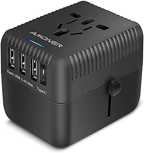Travel Adapter,Universal Adapter Power Plug Worldwide All in One Universal Travel Plug Adapter AC...