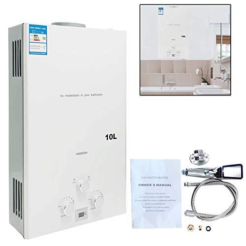TABODD 10L 20KW LPG Calentador de agua de propano, calentador de agua instantaneo portatil sin tanque, quemador de caldera con cabezal de ducha de acero inoxidable para casas pequenas, blanco
