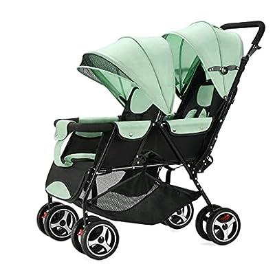 Cochecito de bebé Gemelo | Cochecito Doble Ligero con Asiento en tándem Cochecito Doble para bebés y niños pequeños Que se pliega fácilmente (Color : Green, Style : Style 1)