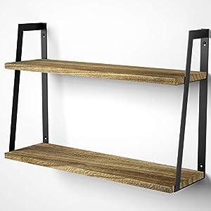 SRIWATANA Floating Wall Shelves, 2-Tier Rustic Wood Shelves for...