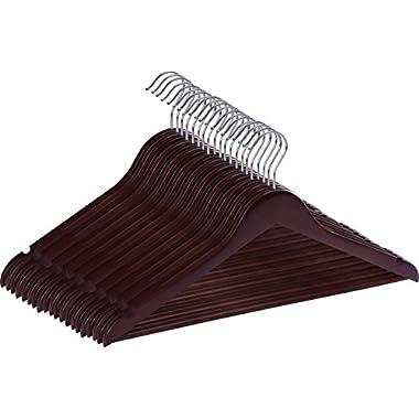 Utopia Home Premium Wooden Hangers - Pack of 20 - Suit Hangers - Walnut Finish
