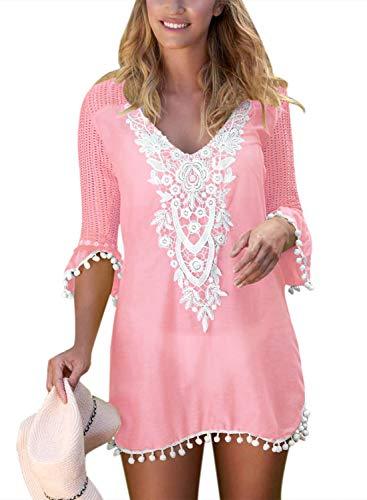 Bikini-jurk voor dames, 3/4 crochet, ronde hals, kant, mouwen, bikini-cover, modieus compleet, met grid strandjurk, elegant, vintage, chique zomerjurk