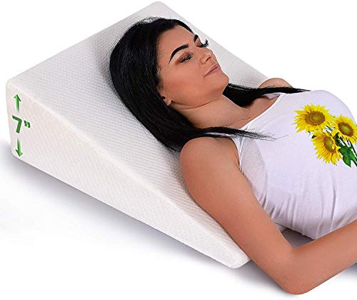 Bed Wedge Pillow with Memory Foam Top - Reduce Neck and Back Pain, Snoring, and Respiratory Problems - Ideal for Sleeping, Reading, Rest or Elevation - Breathable and Washable Cover - 7 in
