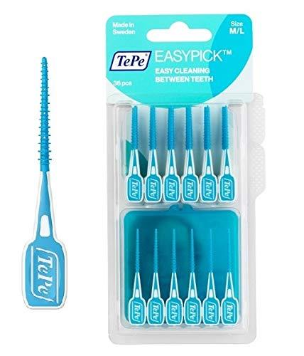 TePe Easy Pick Interdentalbürste, blau, Größe: M/L, 4er Pack (4 x 36 Stück)