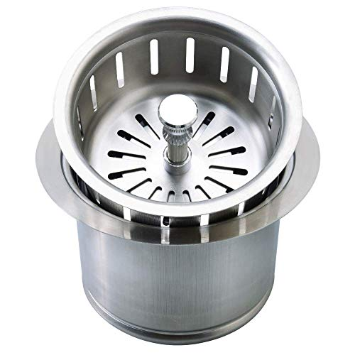Kitchen Extended Sink Flange with Basket Strainer and Drain Stopper for Garbage Disposal Fit 3-1/2 Inch Standard Sink Drain Hole, Replacement for Deep Sink Flanges,Stainless Steel…