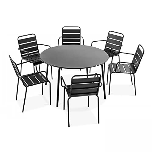 Oviala Table de Jardin et 6 fauteuils Gris Rond 120 x 72 cm Acier 6 Places Palavas