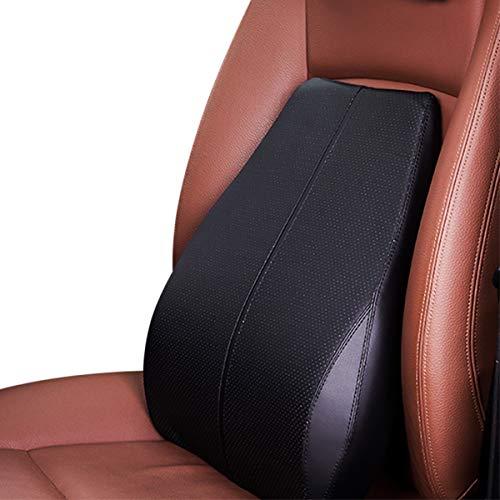 Ergocar Almohada de Lumbar & Almohada de Cuello Cuero de PU Cojin Lumbar Coche Cojín de Asiento para Casa Oficina Coche (Negro, Cojín Lumbar)