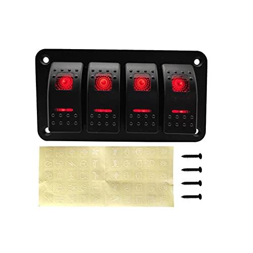 XUNLAN Interruptor de interruptor basculante de 4 bandas duradero con luz LED, interruptor de encendido y apagado para coche, caravana, viaje, remolque, barco marino (color: rojo)