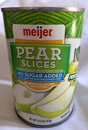 Meijer Pear Slices NO Sugar Added (2) 14.5 Ounce Cans