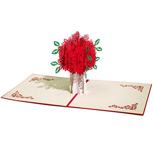 ENJOYPRO Rose Bouquet Pop Up Card, Valentines day card, Mothers day card, 3D Rose Bouquet Card, Rose Flower Greeting Card With Envelope For Valentine's day, Mother's day (3D Rose Bouquet, Pack of 1) Photo #6