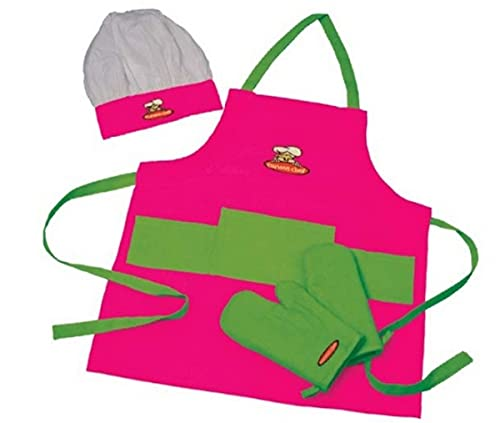Curious Chef Child Textile Set - 4-Piece Set I Real Chef's Wear for Children I Child-Sized Apron, Oven Mitts & Hat I Machine Washable I Pink/Green
