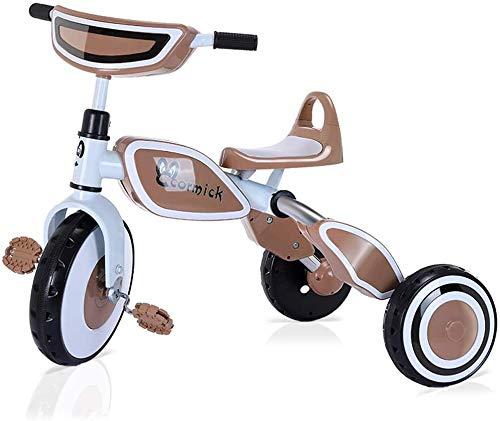GPWDSN Kid Trike Los Niños, Bicicletas Niños De Almacenamiento Triciclos para Una Maleta Plegable Es Fácil De Coche Ligero 1/3/6 / Año/Celebración De Edad Bicicletas Cumpleaños (Color: Caqui)