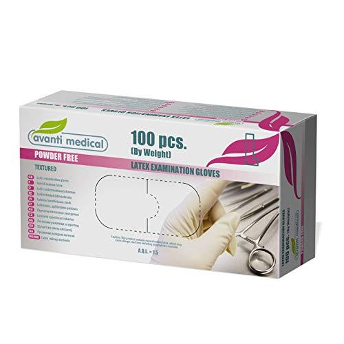 Avanti Medical Einwegpulverfreie Latexhandschuhe Medizinische Untersuchung 100 Stück unsteril für kosmetische und medizinische Eingriffe, Reinigungsmittel, Küche und Lebensmittel sicher