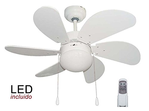 Pack Ventilador de LED y Mando a distancia color Blanco.