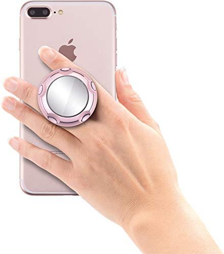 Jumpop ausziehbarer Handgriff und Sockel für Smartphone / Tablet / Kindle / E-Book [selbstklebend, Spiegel, kompatibel mit Magnethalterungen, große und kleine Hände, Standfunktion] rosegold Hochglanz