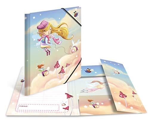 HERMA 19823 - Cartellina portadocumenti formato DIN A4 per la scuola materna, in cartone stabile, con stampa interna completa e elastico, per bambini, ragazzi e ragazze