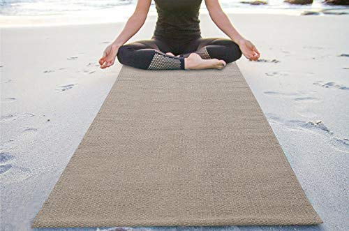 Yoga Mat in Natural Cotton -2x6 Feet (24x72 Inch)- Linen, Extra Thick Excersise & Fitness Mat for All Types of Yoga, Pilates & Floor Exercises,Alignment Lines, Wider for More Comfortable.