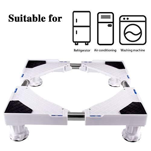 SMONTER Rullo multifunzionale con base mobile regolabile, universale, per asciugatrice, lavatrice e frigorifero, 4 piedi, bianco
