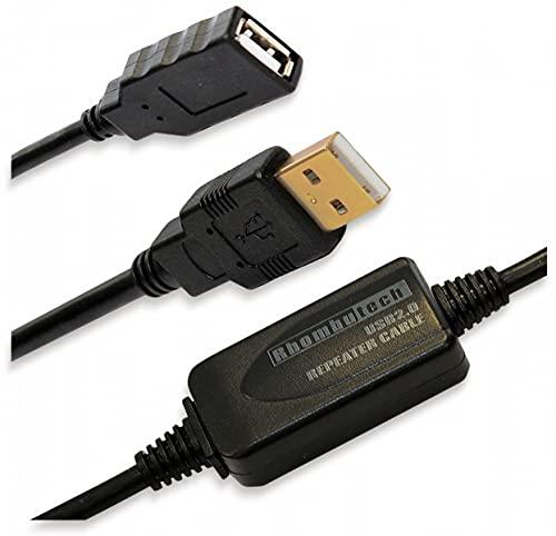 Rhombutech® 15 Meter USB 2.0 Verlängerung, Aktiv, Signalverstärker, Repeater, Verlängerungskabel, A-Stecker auf A-Buchse, Datenkabel, Anschlusskabel, doppelt geschirmt, vergoldete Kontakte