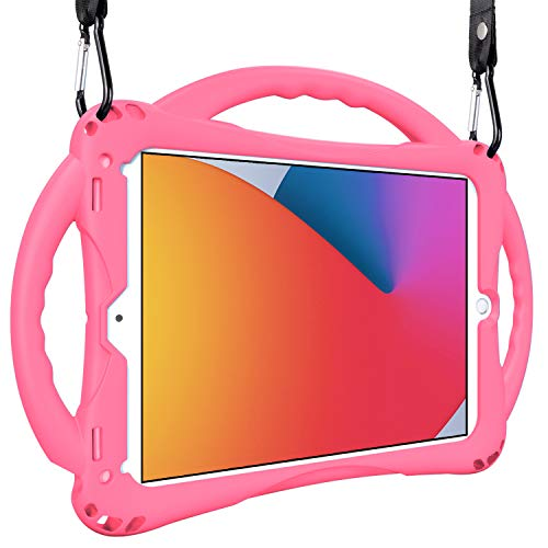 Kids Case for iPad 10.2 8th Gen (2020)/7th Gen (2019), TopEsct Shockproof Handle Stand Case Compatible with iPad 7th/8th Gen 10.2/iPad Air 3rd 10.5/ iPad Pro 10.5 (Pink)