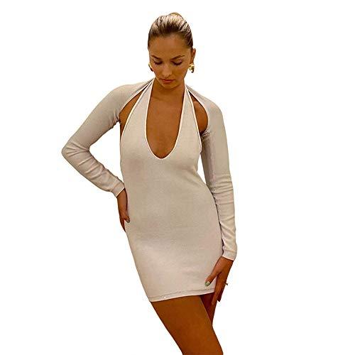 MCTY Vestido de medias elegante, ligero, de fibra de poliéster, falda corta, suelta, estilo callejero, cuello halter, sexy, ajustado, vestido de cadera