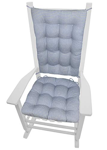 Ticking Stripe Blue Rocking Chair Cushion Set - Standard - Seat Pad and Back Rest with Ties - Reversible, Latex Foam Fill - Made in USA