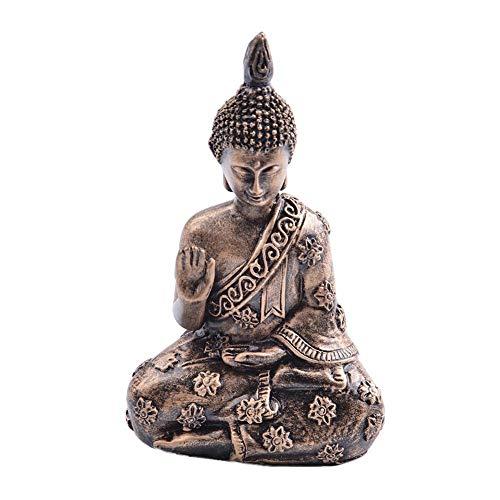 HELLOO HOME Estatua Buda Ornamente Buda Shakyamuni Estatua Mini Sentado Figura Decorativa Ornament Resistente Duradero jardín Exterior Indoor Oficina Mesa Escritorio Auto decoración