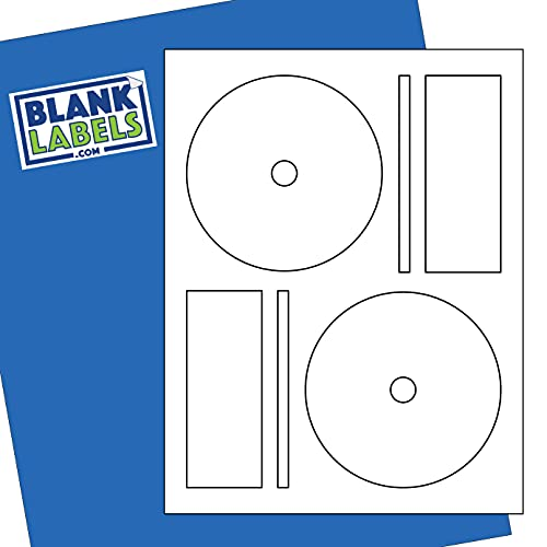 CD / DVD Labels from Blank Labels - Memorex Full Face Compatible, Small Center Style - Permanent White Matte - Inkjet and Laser Guaranteed - Easy to Peel - Made in USA - 500 Sheets - 1000 Disc Labels