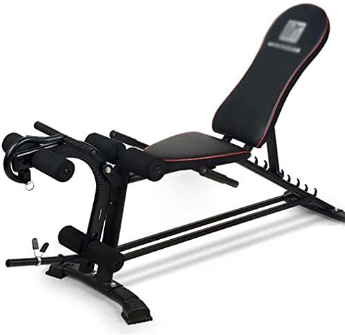 AINH Bench Press Gimnasio Entrenamiento Ajustable Fitness Silla Multifuncional Peso Banco Presión Peso Brazo Músculo Entrenamiento (Color : Black, Size : 158x48x49cm)