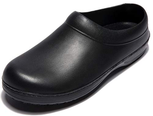 IKCSHOE Flat Chef Non-Slip Safety Oil Water Resistant Casual Clog Shoe for Women and Men (36) Black, 6 Women/5 Men