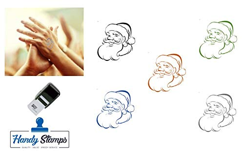 Father Christmas Hand Stamp - Suitable for Festivals, Parties, Clubs, Special Events, Bars etc. (Black)