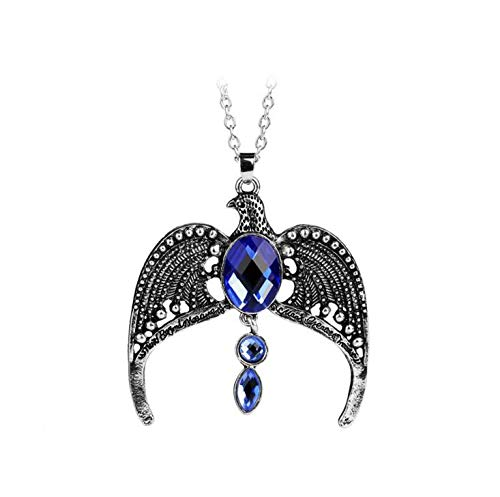 Antique Silver Blue Stone Eagle Necklace H P Hogwarts School Diadem Ravenclaw Necklace Unisex Movie Witchcraft Jewelry Cosplay Mens