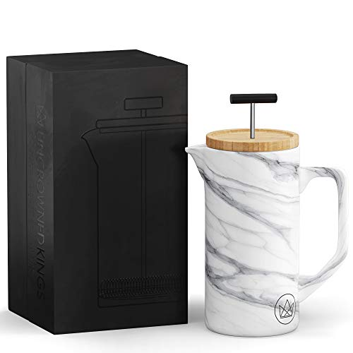 Uncrowned Kings French Press - Coffee Maker - Ceramic with Marble Effect - 600ml - Stainless Steel Dual Filter and Bamboo Lid - Packaged in Elegant Gift Box