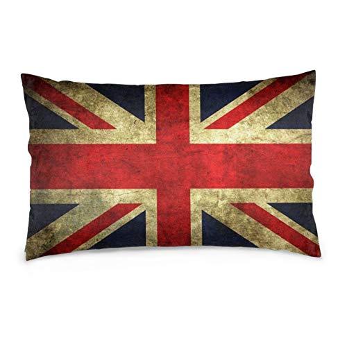iksrgfvb Fundas de Almohada 16X24 Pulgadas Vintage Bandera Inglesa Fundas de Almohada Sofá Coche Funda de cojín Decorativo para el hogar 40X60CM