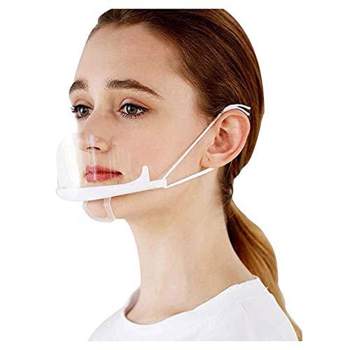 Btruely 10 Stück Half Face Visier Kunststoff Klarer Gesichtsschutz Elastisch Komfortabel Tragender Mundschutz für Chef Snack Bar Kitchen Restaurant usual